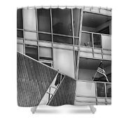 Denver Diagonal Lines Bw Shower Curtain