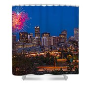 Denver Skyline Fireworks Shower Curtain