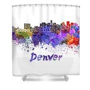 Denver Skyline In Watercolor Shower Curtain