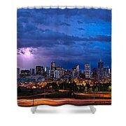 Denver Skyline Shower Curtain by John K Sampson