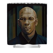 Denzel Washington In The Equalizer Painting Shower Curtain