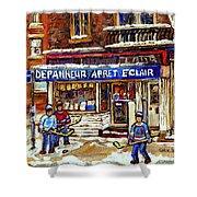 Depanneur Arret Eclair Verdun Rue Wellington Montreal Paintings Original Hockey Art Sale Commissions Shower Curtain