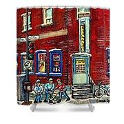 Depanneur Centre Pointe St Charles Montreal Verdun Paintings Hockey Art City Scenes Cspandau Shower Curtain