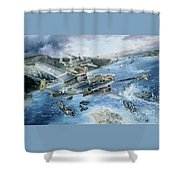 Derailing The Tokyo Express Shower Curtain by Randy Green