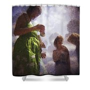 Derby People 1 Water Color 1 Shower Curtain