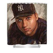 Derek Jeter Shower Curtain by Viola El
