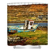 Derelict Fishing Boat On The Irish Coast Shower Curtain
