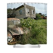Derelict Morris And Old Truck On An Abandoned Farm Shower Curtain