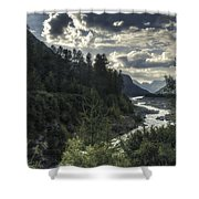 Desaturated Mountainscape Shower Curtain