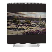 Desert In Bloom At Dusk Shower Curtain