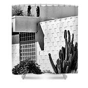 Desert Modern Bw Palm Springs Shower Curtain