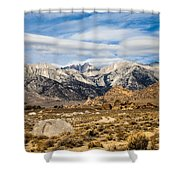Desert View Of Majestic Mount Whitney Mountain Peaks With Clouds Shower Curtain