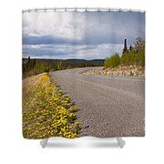Deserted Rural Highway Yukon Territory Canada Shower Curtain