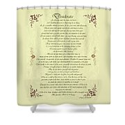 Desiderata Gold Bond Scrolled Shower Curtain by Movie Poster Prints