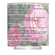 Desiderata On Garden Scene With Pink Roses Shower Curtain