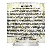 Desiderata On Leafy Watercolor Shower Curtain