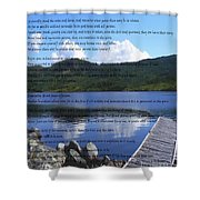 Desiderata On Pond Scene With Mountains Shower Curtain