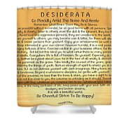 Desiderata Poem On Golden Sunset Shower Curtain