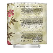 Desiderata Poem With Bamboo And Butterflies Shower Curtain