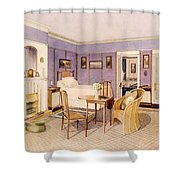 Design For The Interior Of A Bedroom Shower Curtain