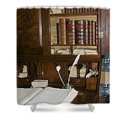 Desk With Quill Pens Shower Curtain
