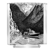 Anchored Safe Chatterbox Falls, British Columbia Inside Passage Shower Curtain