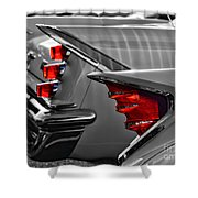 Desoto Red Tail Lights In Black And White Shower Curtain