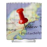 Destination To New York Shower Curtain