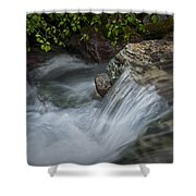 Detail Of A Small Water Fall In A Stream Shower Curtain