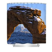 Detail Of Delicate Arch With Snow Arches National Park Utah Shower Curtain