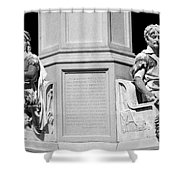 Detail Of Monument Statues - Bw Shower Curtain