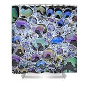 Detail Of Rainbow-colored Bubbles Shower Curtain