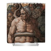 Detail Of The Last Judgment Shower Curtain by Michelangelo