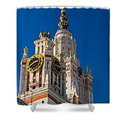 Detail Of The Main Building Of Moscow State University On Sparrow Hills Shower Curtain