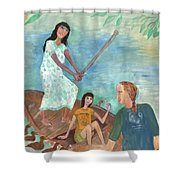 Detail Of We All Went Punting Shower Curtain