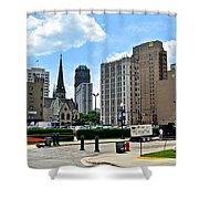 Detroit As Seen From Comerica Shower Curtain