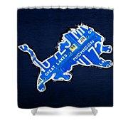 Detroit Lions Football Team Retro Logo License Plate Art Shower Curtain by Design Turnpike