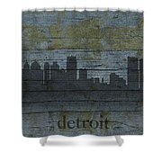Detroit Michigan City Skyline Silhouette Distressed On Worn Peeling Wood Shower Curtain