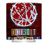 Detroit Pistons Basketball Vintage License Plate Art Shower Curtain by Design Turnpike