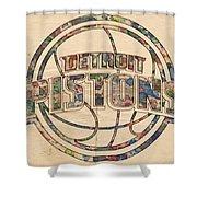 Detroit Pistons Poster Art Shower Curtain
