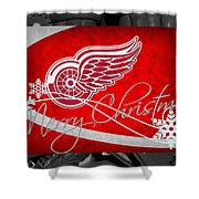 Detroit Red Wings Christmas Shower Curtain