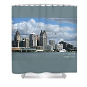 Detroit Riverfront Shower Curtain
