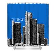Detroit Skyline 1 - Blue Shower Curtain