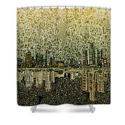 Detroit Skyline Abstract 4 Shower Curtain