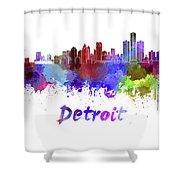 Detroit Skyline In Watercolor Shower Curtain