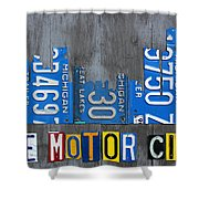 Detroit The Motor City Skyline License Plate Art On Gray Wood Boards  Shower Curtain