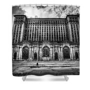 Detroit's Abandoned Michigan Central Train Station Depot In Black And White Shower Curtain