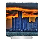Detroits Sky Shower Curtain by Nicholas  Grunas