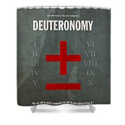 Deuteronomy Books Of The Bible Series Old Testament Minimal Poster Art Number 5 Shower Curtain by Design Turnpike