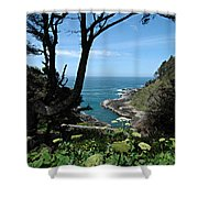 Devil's Churn Oregon Coastline Shower Curtain